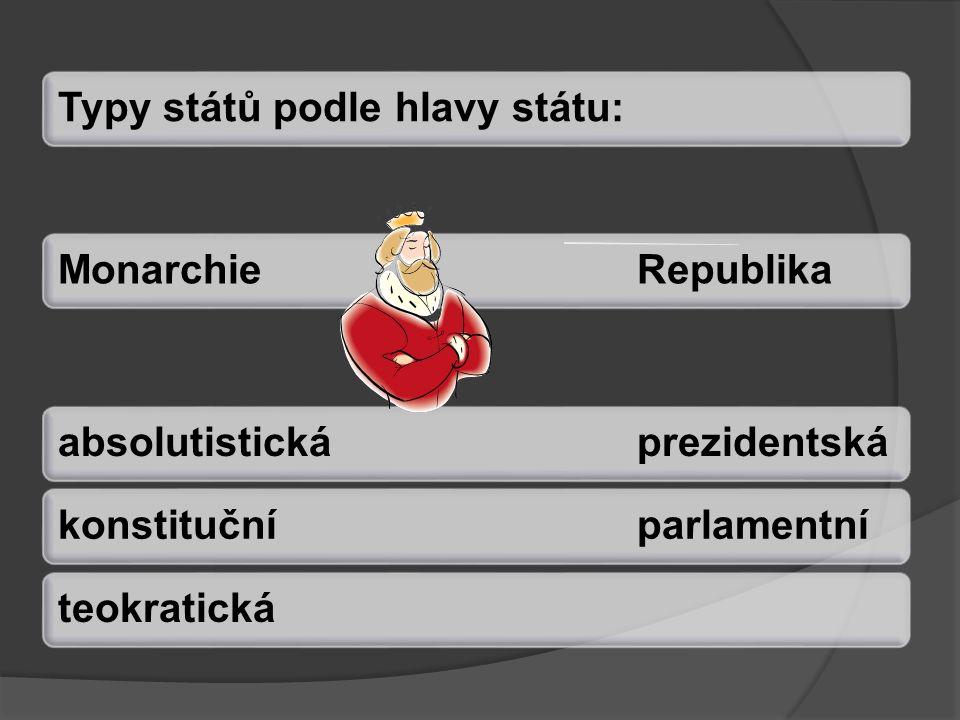 Typy států podle hlavy státu:MonarchieRepublikaabsolutistickáprezidentskákonstitučníparlamentníteokratická