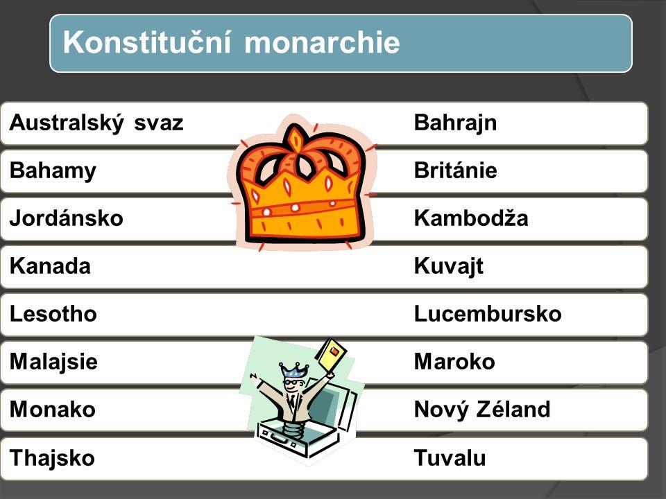 Australský svazBahrajnBahamyBritánieJordánskoKambodžaKanadaKuvajtLesotho LucemburskoMalajsieMarokoMonakoNový ZélandThajskoTuvalu Konstituční monarchie