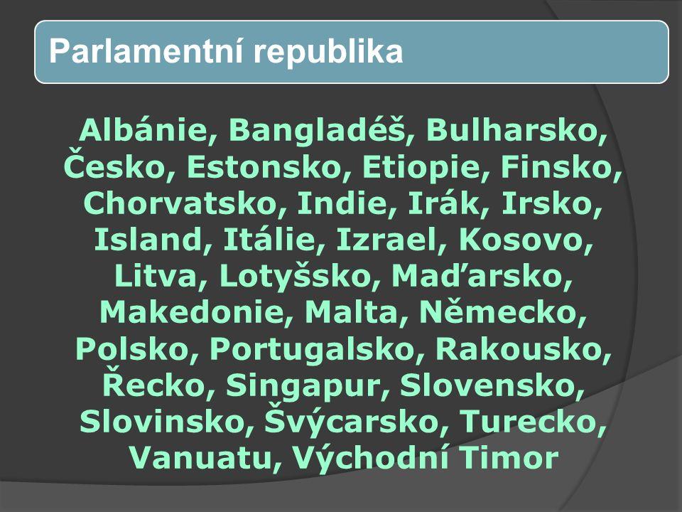 Albánie, Bangladéš, Bulharsko, Česko, Estonsko, Etiopie, Finsko, Chorvatsko, Indie, Irák, Irsko, Island, Itálie, Izrael, Kosovo, Litva, Lotyšsko, Maďarsko, Makedonie, Malta, Německo, Polsko, Portugalsko, Rakousko, Řecko, Singapur, Slovensko, Slovinsko, Švýcarsko, Turecko, Vanuatu, Východní Timor Parlamentní republika