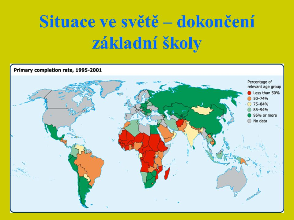 Zapsaní žáci a žáci, kteří školu dokončí ve vybraných zemích Mezi rozvojovými zeměmi jsou velké rozdíly Madagaskar má zvláštní primát Země subsaharské Afriky jsou v dokončení základní docházky na nejhorším místě Negramotnost je pro budoucnost obrovskou brzdou