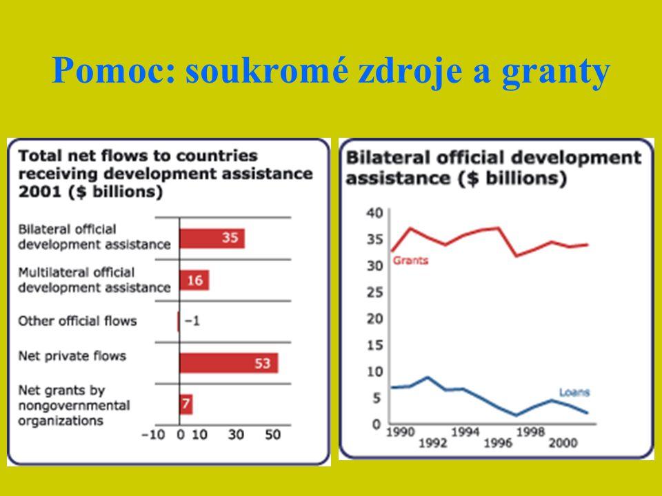 Rozvojová pomoc V reálné hodnotě pomoc nejchudším zemím v posledních letech sice vzrostla, ale 56% celé pomoci šlo do nerozvinutých ekonomik (HDP/ob.
