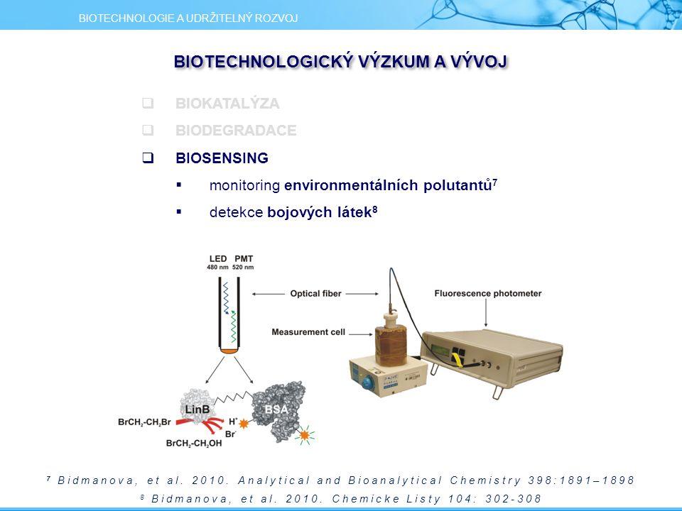 7 Bidmanova, et al. 2010. Analytical and Bioanalytical Chemistry 398:1891–1898 8 Bidmanova, et al. 2010. Chemicke Listy 104: 302-308 BIOTECHNOLOGIE A