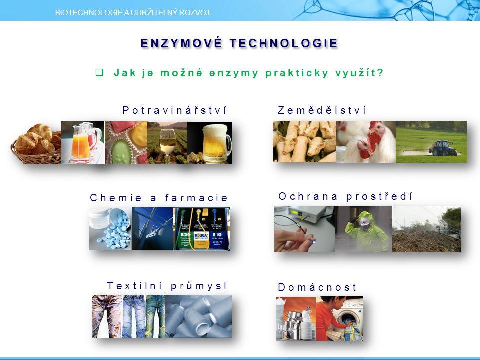 ENZYMOVÉ TECHNOLOGIE  Jak je možné enzymy prakticky využít? BIOTECHNOLOGIE A UDRŽITELNÝ ROZVOJ D o m á c n o s t P o t r a v i n á ř s t v í Z e m ě