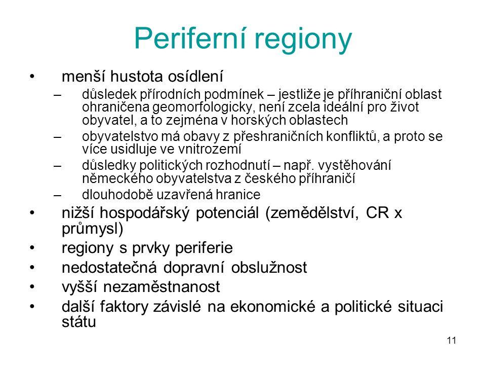 11 Periferní regiony menší hustota osídlení –důsledek přírodních podmínek – jestliže je příhraniční oblast ohraničena geomorfologicky, není zcela ideá