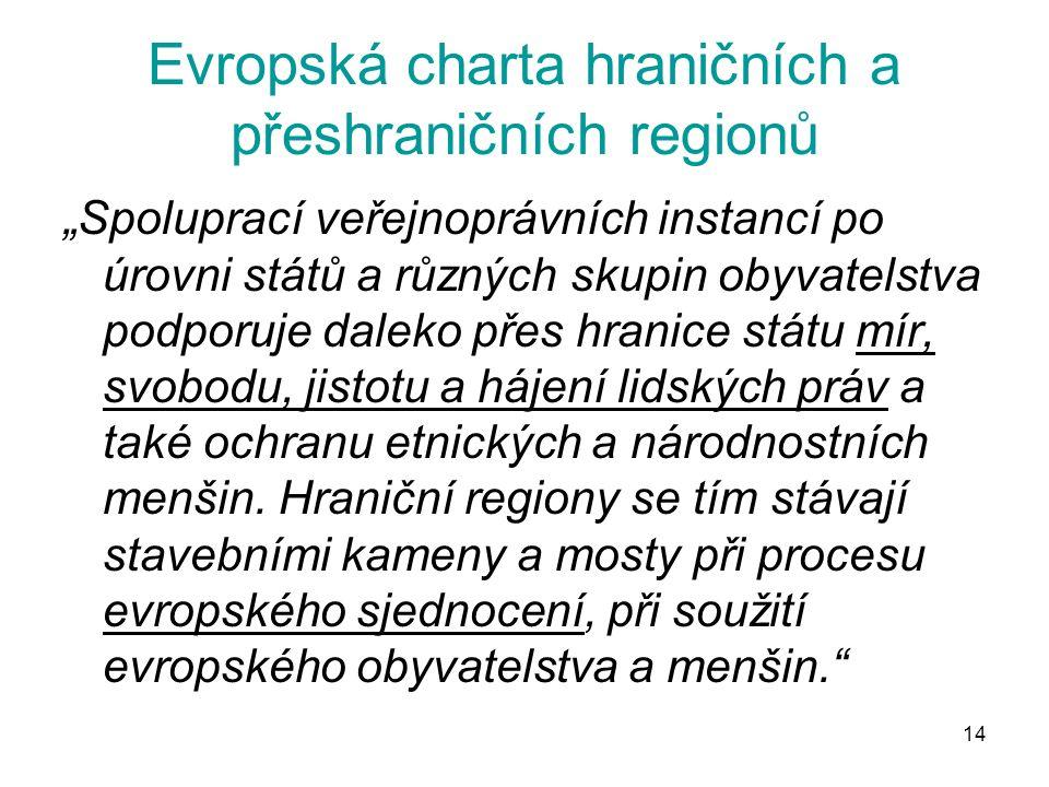 """14 Evropská charta hraničních a přeshraničních regionů """"Spoluprací veřejnoprávních instancí po úrovni států a různých skupin obyvatelstva podporuje da"""