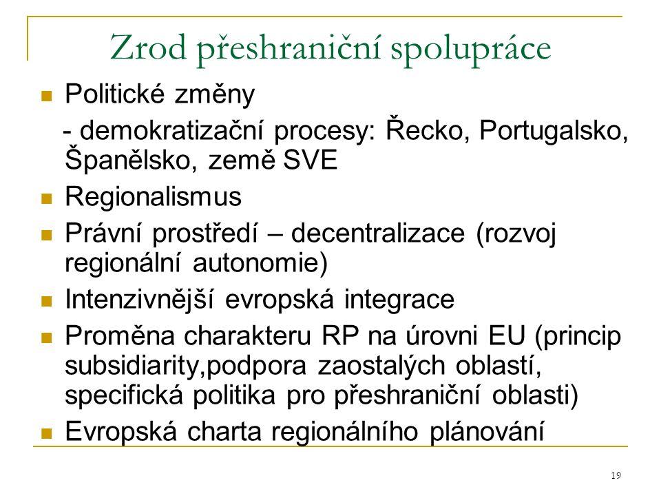 19 Zrod přeshraniční spolupráce Politické změny - demokratizační procesy: Řecko, Portugalsko, Španělsko, země SVE Regionalismus Právní prostředí – dec