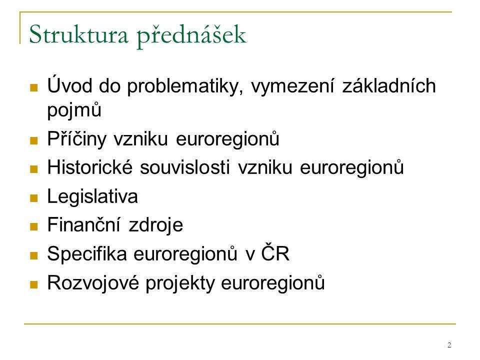 2 Struktura přednášek Úvod do problematiky, vymezení základních pojmů Příčiny vzniku euroregionů Historické souvislosti vzniku euroregionů Legislativa