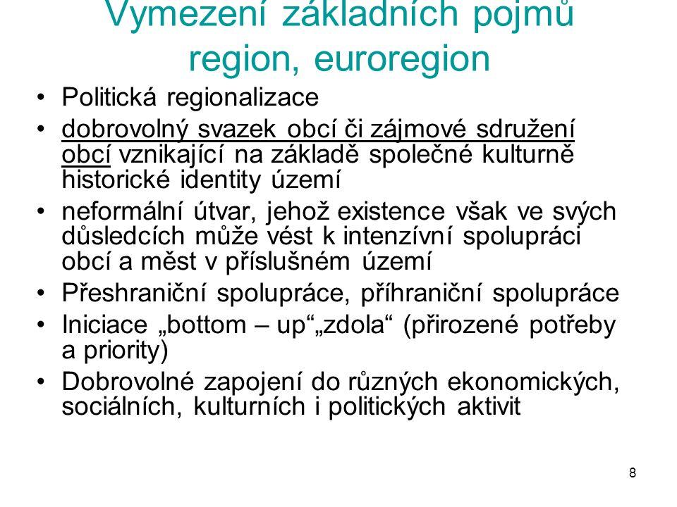8 Vymezení základních pojmů region, euroregion Politická regionalizace dobrovolný svazek obcí či zájmové sdružení obcí vznikající na základě společné