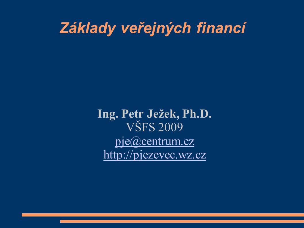 Témata Funkce VF ve smíšené ekonomice Teorie statků, typologie a význam pro VF Vládní selhání a teorie veřejné volby Soustava veřejných rozpočtů, statistiky, rozpočtová skladba Veřejné příjmy Veřejné výdaje Efektivnost veřejných výdajových programů Krátkodobá rozpočtová nerovnováha a deficity Dlouhodobá fiskální nerovnováha a dluh