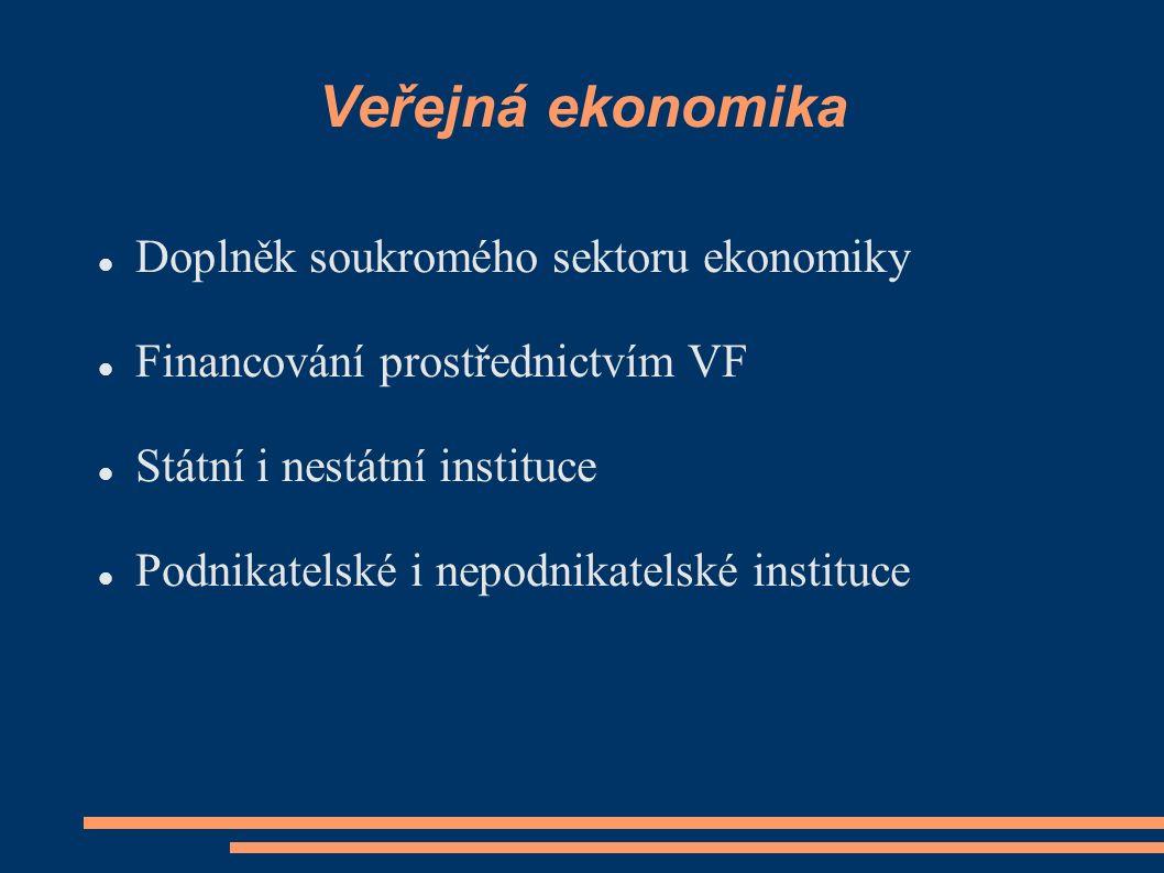 Veřejná ekonomika Doplněk soukromého sektoru ekonomiky Financování prostřednictvím VF Státní i nestátní instituce Podnikatelské i nepodnikatelské instituce