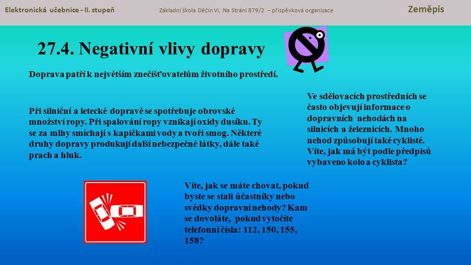 27.4.Negativní vlivy dopravy Elektronická učebnice - II.