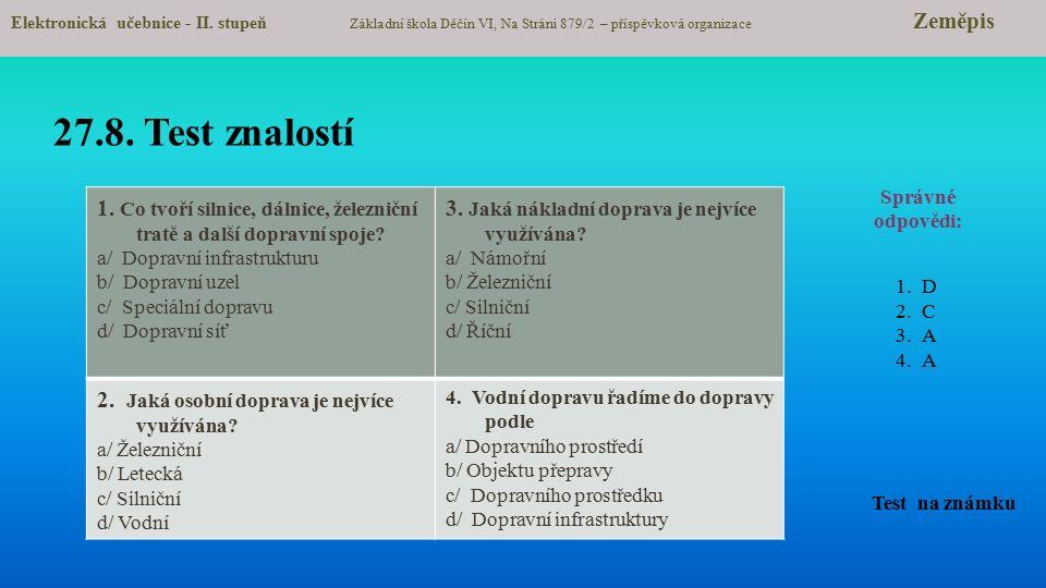 27.8.Test znalostí Test na známku Elektronická učebnice - II.