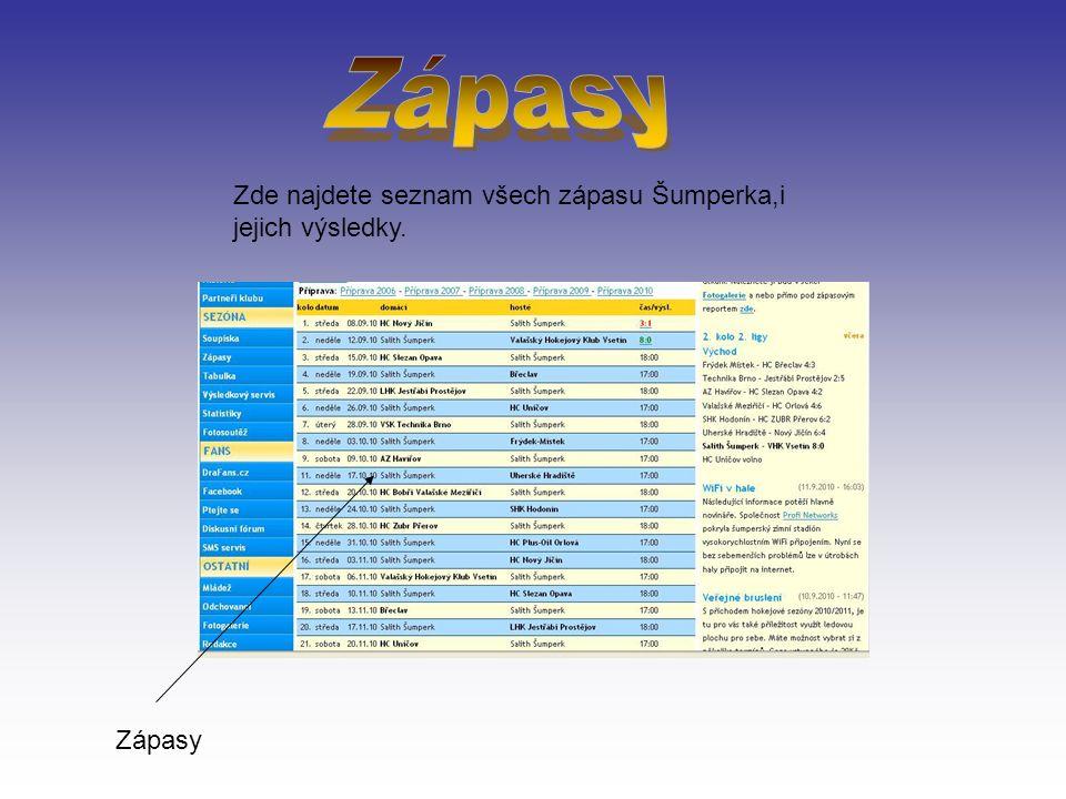 Zde najdete seznam všech zápasu Šumperka,i jejich výsledky. Zápasy