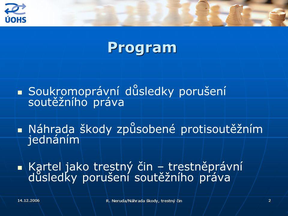 14.12.2006 R. Neruda/Náhrada škody, trestný čin 2 Program Soukromoprávní důsledky porušení soutěžního práva Náhrada škody způsobené protisoutěžním jed