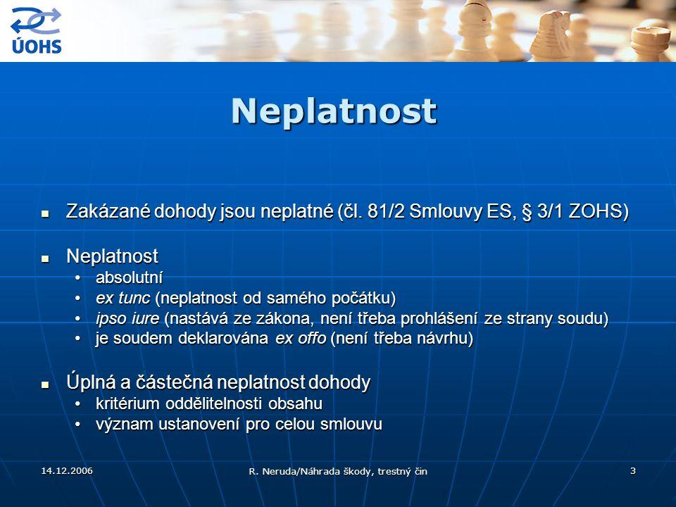 14.12.2006 R. Neruda/Náhrada škody, trestný čin 3 Neplatnost Zakázané dohody jsou neplatné (čl. 81/2 Smlouvy ES, § 3/1 ZOHS) Zakázané dohody jsou nepl
