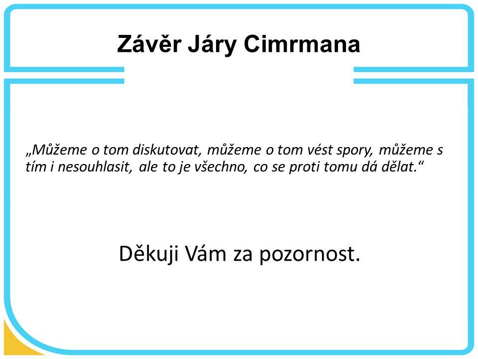 """Závěr Járy Cimrmana """"Můžeme o tom diskutovat, můžeme o tom vést spory, můžeme s tím i nesouhlasit, ale to je všechno, co se proti tomu dá dělat. Děkuji Vám za pozornost."""