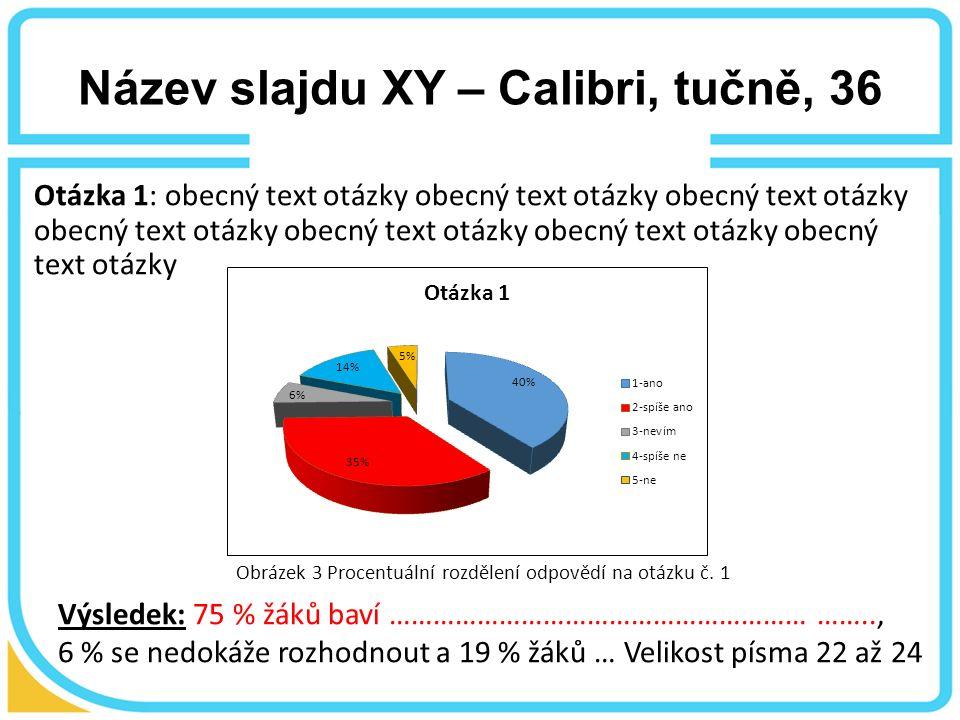 Název slajdu XY – Calibri, tučně, 36 Otázka 1: obecný text otázky obecný text otázky obecný text otázky obecný text otázky obecný text otázky obecný text otázky obecný text otázky Výsledek: 75 % žáků baví ………………………………………………… …….., 6 % se nedokáže rozhodnout a 19 % žáků … Velikost písma 22 až 24 Obrázek 3 Procentuální rozdělení odpovědí na otázku č.