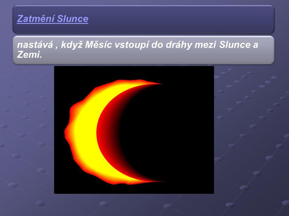 nastává, když Měsíc vstoupí do dráhy mezi Slunce a Zemi.