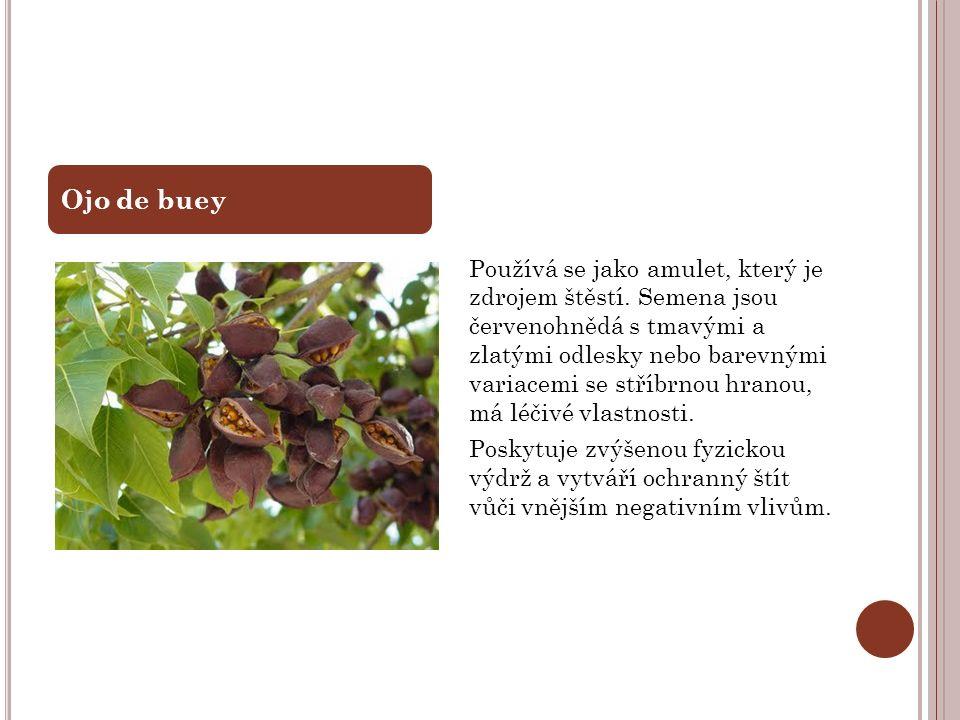 Používá se jako amulet, který je zdrojem štěstí. Semena jsou červenohnědá s tmavými a zlatými odlesky nebo barevnými variacemi se stříbrnou hranou, má