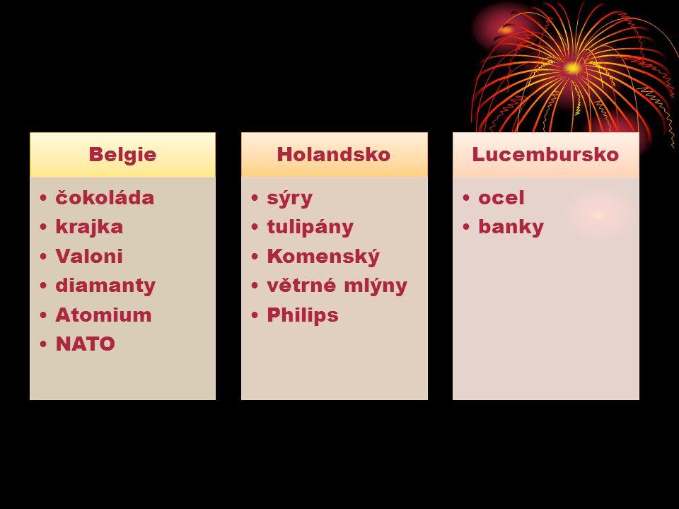 Belgie čokoláda krajka Valoni diamanty Atomium NATO Holandsko sýry tulipány Komenský větrné mlýny Philips Lucembursko ocel banky