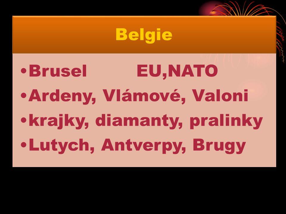 Belgie BruselEU,NATO Ardeny, Vlámové, Valoni krajky, diamanty, pralinky Lutych, Antverpy, Brugy