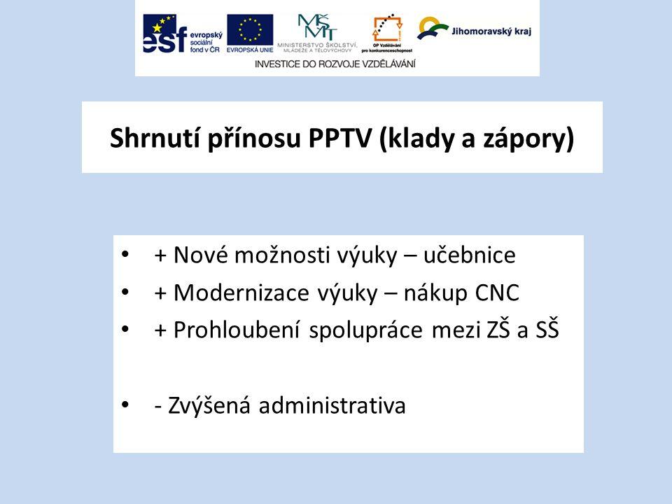 Shrnutí přínosu PPTV (klady a zápory) + Nové možnosti výuky – učebnice + Modernizace výuky – nákup CNC + Prohloubení spolupráce mezi ZŠ a SŠ - Zvýšená administrativa