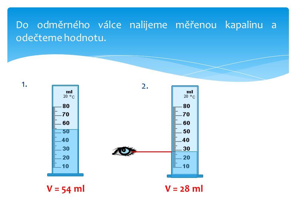 Do odměrného válce nalijeme měřenou kapalinu a odečteme hodnotu. 1. V = 54 mlV = 28 ml 2.