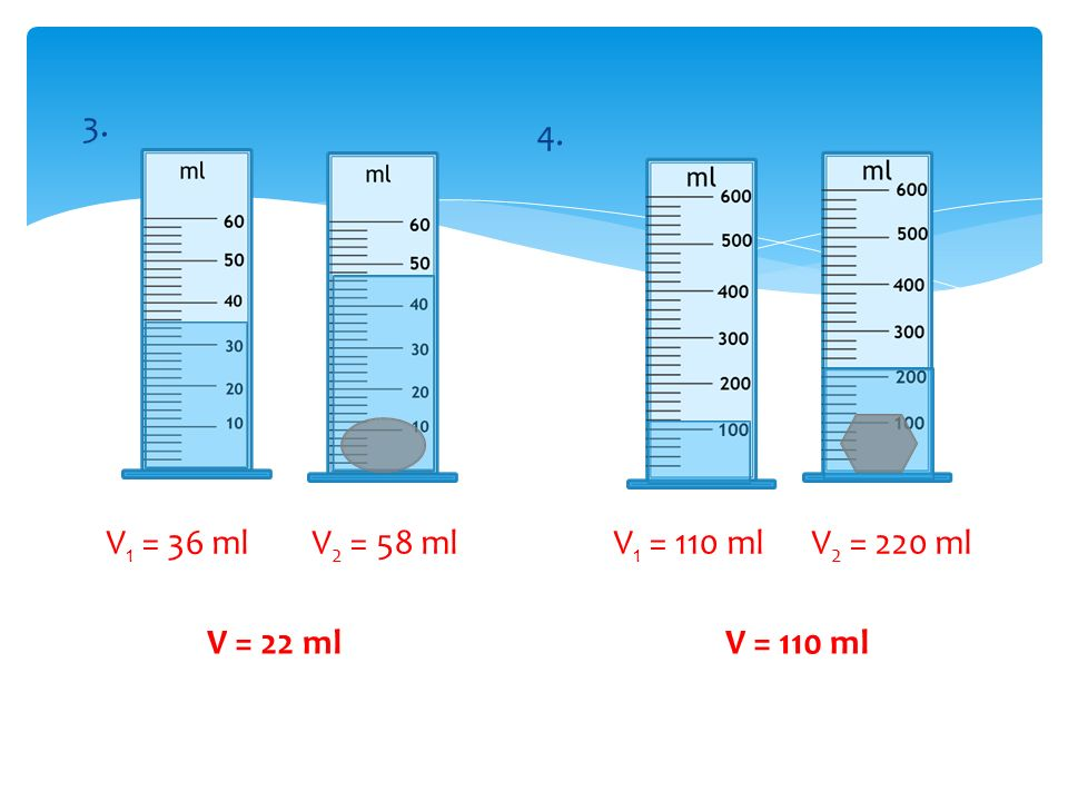 3. 4. V 1 = 36 ml V 2 = 58 ml V = 22 ml V 1 = 110 ml V 2 = 220 ml V = 110 ml