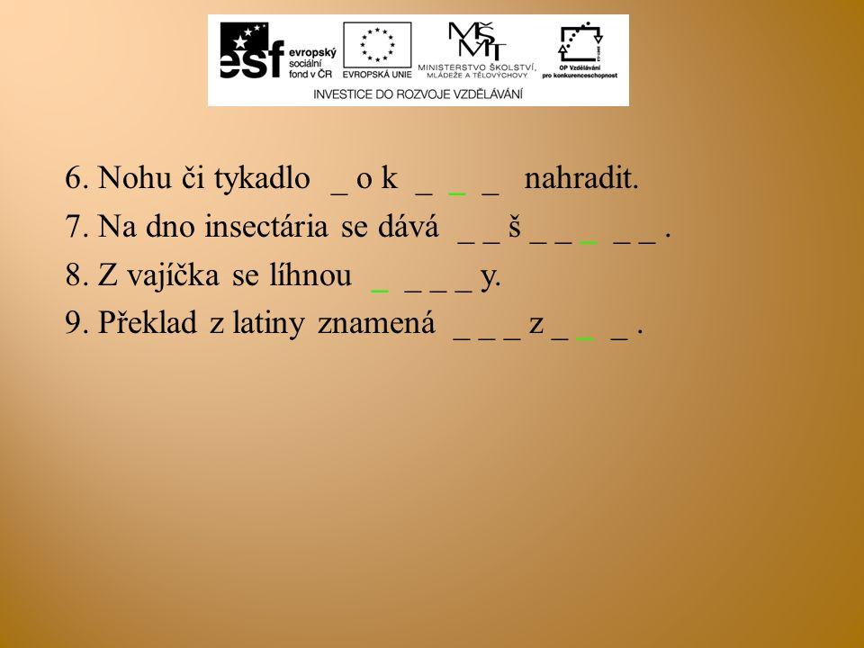 6. Nohu či tykadlo _ o k _ _ _ nahradit. 7. Na dno insectária se dává _ _ š _ _ _ _ _. 8. Z vajíčka se líhnou _ _ _ _ y. 9. Překlad z latiny znamená _