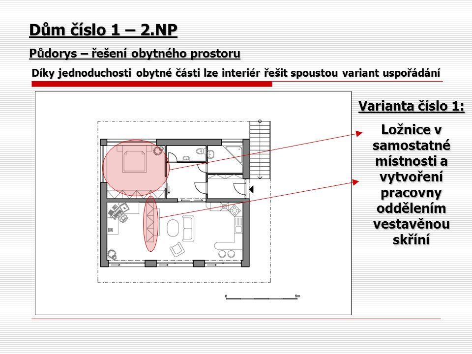 Dům číslo 1 – 2.NP Půdorys – řešení obytného prostoru Díky jednoduchosti obytné části lze interiér řešit spoustou variant uspořádání Varianta číslo 1: