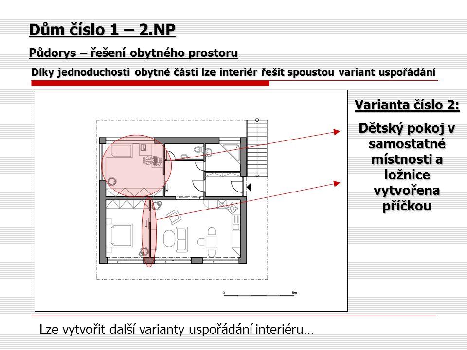 Dům číslo 1 – 2.NP Půdorys – řešení obytného prostoru Díky jednoduchosti obytné části lze interiér řešit spoustou variant uspořádání Varianta číslo 2: