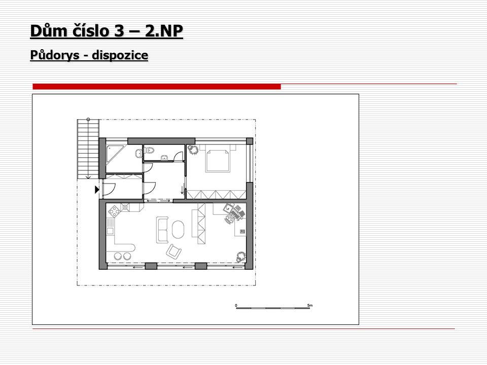 Dům číslo 3 – 2.NP Půdorys - dispozice