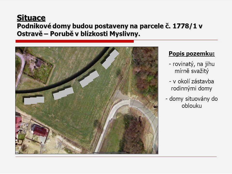 Situace Podnikové domy budou postaveny na parcele č. 1778/1 v Ostravě – Porubě v blízkosti Myslivny. Popis pozemku: - rovinatý, na jihu mírně svažitý
