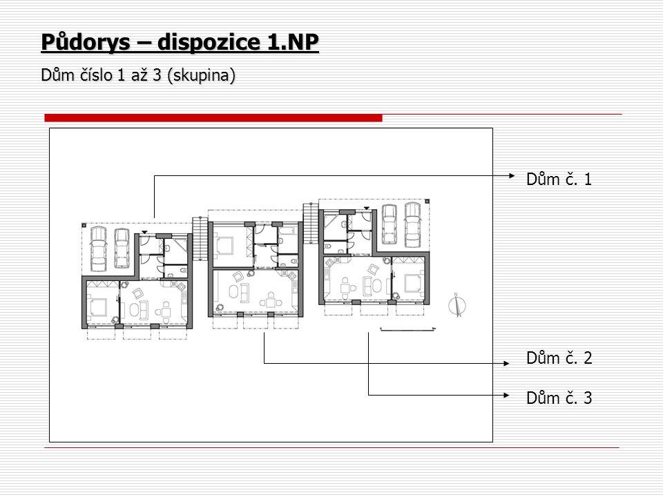 Půdorys – dispozice 1.NP Dům číslo 1 až 3 (skupina) Dům č. 1 Dům č. 2 Dům č. 3