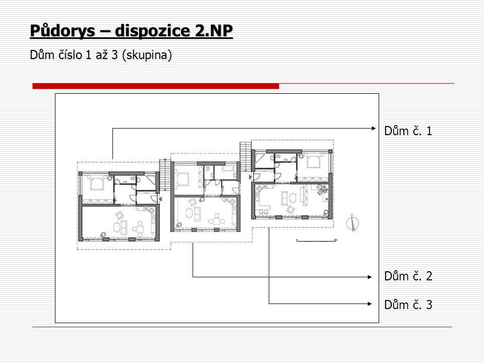 Půdorys – dispozice 2.NP Dům číslo 1 až 3 (skupina) Dům č. 1 Dům č. 2 Dům č. 3