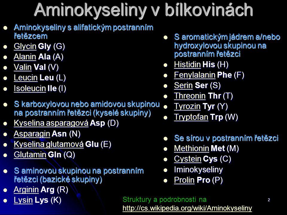 2 Aminokyseliny v bílkovinách Aminokyseliny s alifatickým postranním řetězcem Aminokyseliny s alifatickým postranním řetězcem Glycin Gly (G) Glycin Gly (G) Glycin Alanin Ala (A) Alanin Ala (A) Alanin Valin Val (V) Valin Val (V) Valin Leucin Leu (L) Leucin Leu (L) Leucin Isoleucin Ile (I) Isoleucin Ile (I) Isoleucin S karboxylovou nebo amidovou skupinou na postranním řetězci (kyselé skupiny) S karboxylovou nebo amidovou skupinou na postranním řetězci (kyselé skupiny) Kyselina asparagová Asp (D) Kyselina asparagová Asp (D) Kyselina asparagová Kyselina asparagová Asparagin Asn (N) Asparagin Asn (N) Asparagin Kyselina glutamová Glu (E) Kyselina glutamová Glu (E) Kyselina glutamová Kyselina glutamová Glutamin Gln (Q) Glutamin Gln (Q) Glutamin S aminovou skupinou na postranním řetězci (bazické skupiny) S aminovou skupinou na postranním řetězci (bazické skupiny) Arginin Arg (R) Arginin Arg (R) Arginin Lysin Lys (K) Lysin Lys (K) Lysin S aromatickým jádrem a/nebo hydroxylovou skupinou na postranním řetězci S aromatickým jádrem a/nebo hydroxylovou skupinou na postranním řetězci Histidin His (H) Histidin His (H) Histidin Fenylalanin Phe (F) Fenylalanin Phe (F) Fenylalanin Serin Ser (S) Serin Ser (S) Serin Threonin Thr (T) Threonin Thr (T) Threonin Tyrozin Tyr (Y) Tyrozin Tyr (Y) Tyrozin Tryptofan Trp (W) Tryptofan Trp (W) Tryptofan Se sírou v postranním řetězci Se sírou v postranním řetězci Methionin Met (M) Methionin Met (M) Methionin Cystein Cys (C) Cystein Cys (C) Cystein Iminokyseliny Iminokyseliny Prolin Pro (P) Prolin Pro (P) Prolin Struktury a podrobnosti na http://cs.wikipedia.org/wiki/Aminokyseliny http://cs.wikipedia.org/wiki/Aminokyseliny