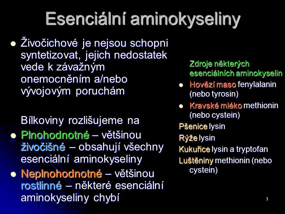 3 Esenciální aminokyseliny Živočichové je nejsou schopni syntetizovat, jejich nedostatek vede k závažným onemocněním a/nebo vývojovým poruchám Živočichové je nejsou schopni syntetizovat, jejich nedostatek vede k závažným onemocněním a/nebo vývojovým poruchám Bílkoviny rozlišujeme na Plnohodnotné – většinou živočišné – obsahují všechny esenciální aminokyseliny Plnohodnotné – většinou živočišné – obsahují všechny esenciální aminokyseliny Neplnohodnotné – většinou rostlinné – některé esenciální aminokyseliny chybí Neplnohodnotné – většinou rostlinné – některé esenciální aminokyseliny chybí Zdroje některých esenciálních aminokyselin Hovězí maso fenylalanin (nebo tyrosin) Hovězí maso fenylalanin (nebo tyrosin) Kravské mléko methionin (nebo cystein) Kravské mléko methionin (nebo cystein) Pšenice lysin Rýže lysin Kukuřice lysin a tryptofan Luštěniny methionin (nebo cystein)