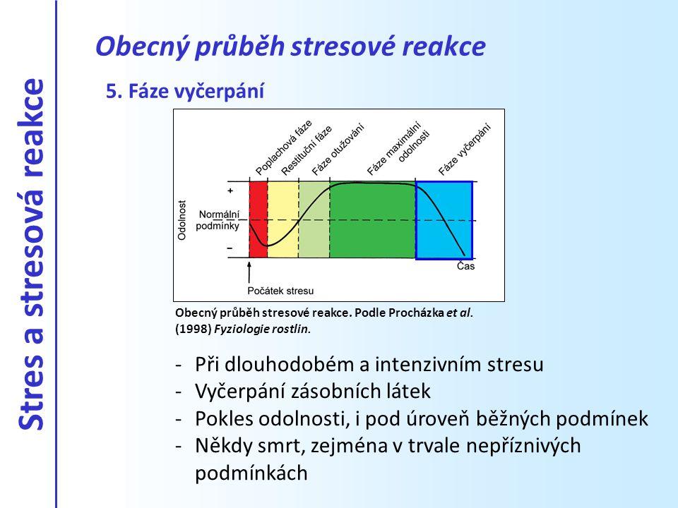 5. Fáze vyčerpání -Při dlouhodobém a intenzivním stresu -Vyčerpání zásobních látek -Pokles odolnosti, i pod úroveň běžných podmínek -Někdy smrt, zejmé