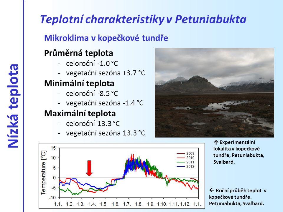 Mikroklima v kopečkové tundře Průměrná teplota -celoroční -1.0 °C -vegetační sezóna +3.7 °C Minimální teplota -celoroční -8.5 °C -vegetační sezóna -1.