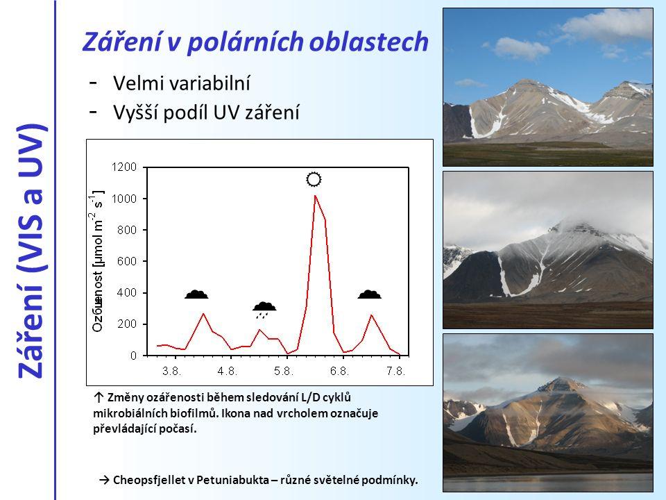 - Velmi variabilní - Vyšší podíl UV záření → Cheopsfjellet v Petuniabukta – různé světelné podmínky. Záření v polárních oblastech ↑ Změny ozářenosti b