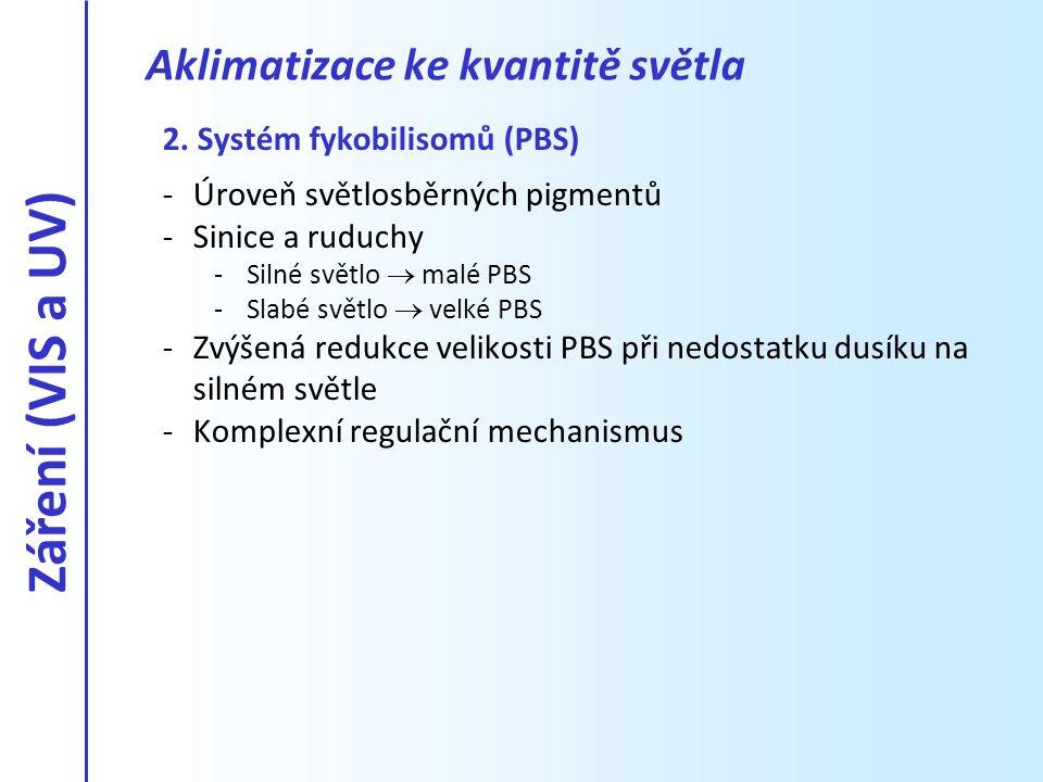 2. Systém fykobilisomů (PBS) -Úroveň světlosběrných pigmentů -Sinice a ruduchy -Silné světlo  malé PBS -Slabé světlo  velké PBS -Zvýšená redukce vel