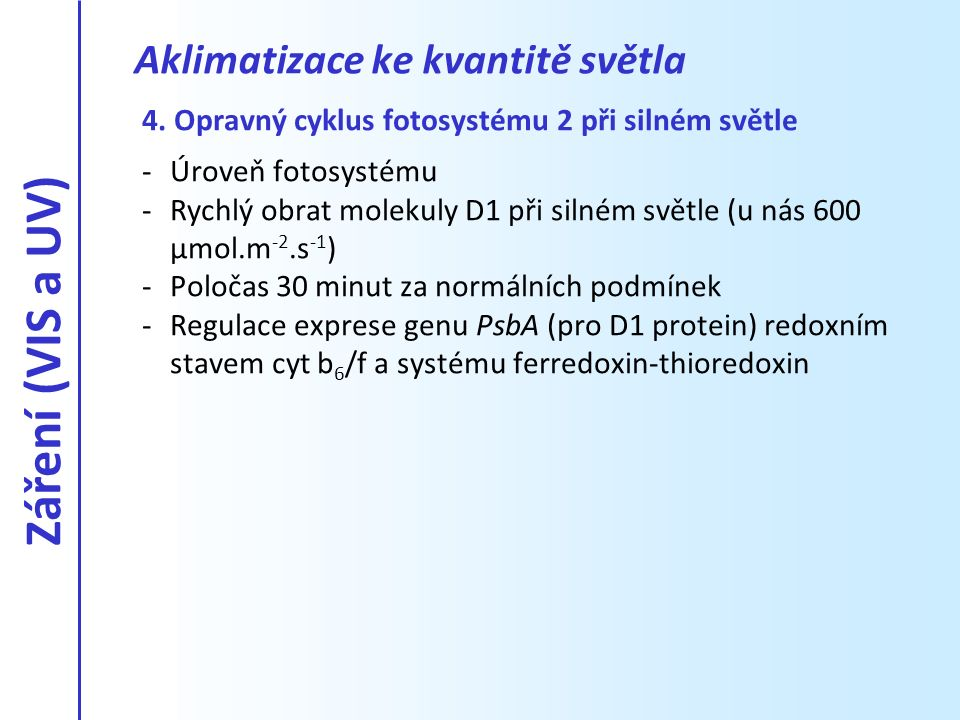 4. Opravný cyklus fotosystému 2 při silném světle -Úroveň fotosystému -Rychlý obrat molekuly D1 při silném světle (u nás 600 µmol.m -2.s -1 ) -Poločas