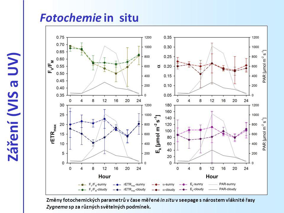 Fotochemie in situ Změny fotochemických parametrů v čase měřené in situ v seepage s nárostem vláknité řasy Zygnema sp za různých světelných podmínek.