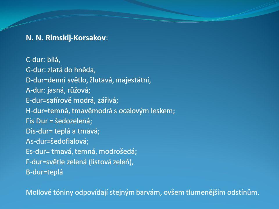 N. N. Rimskij-Korsakov: C-dur: bílá, G-dur: zlatá do hněda, D-dur=denní světlo, žlutavá, majestátní, A-dur: jasná, růžová; E-dur=safírově modrá, zářiv