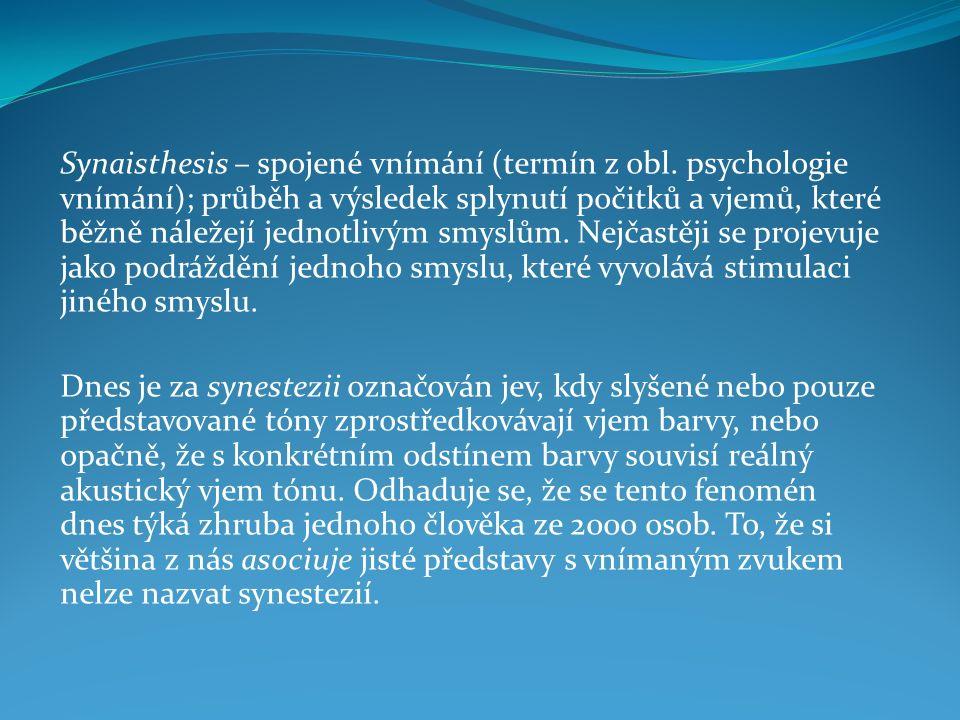 """Synesthesie – synonymní pojmy: Intermodální (intersenzorické) kategorie vnímání """"jednota smyslů – Helmuth Plessner: Die Einheit der Sinne, Bonn 1923."""