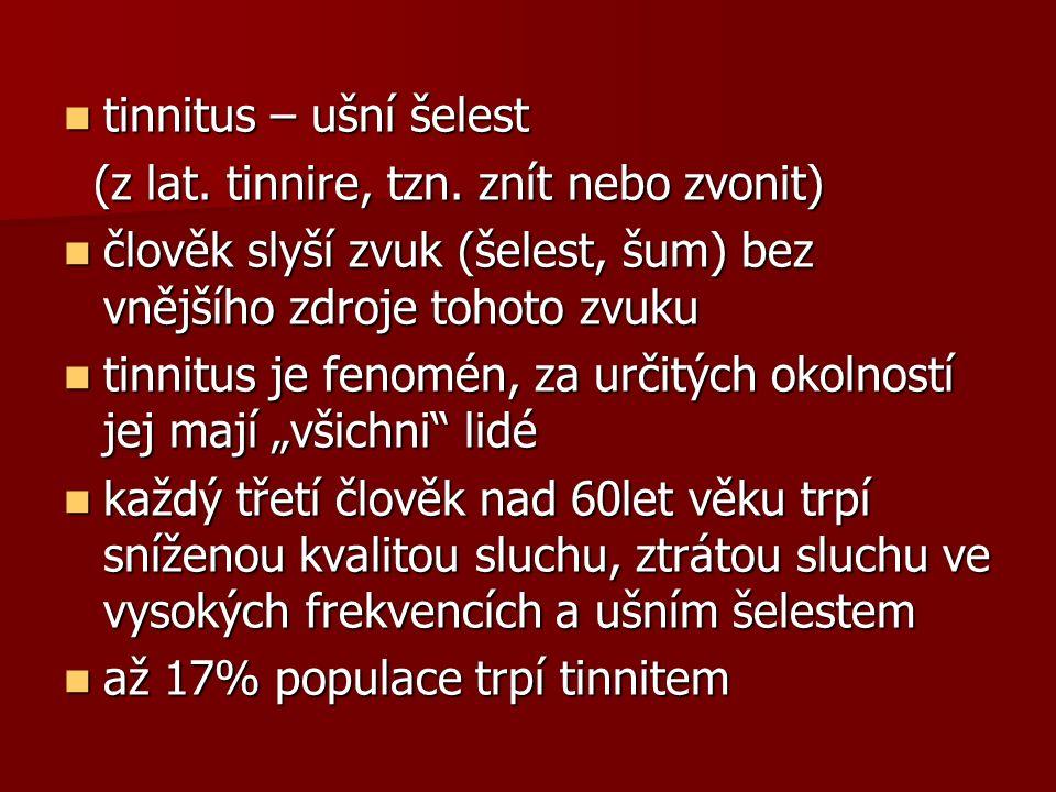 tinnitus – ušní šelest tinnitus – ušní šelest (z lat.