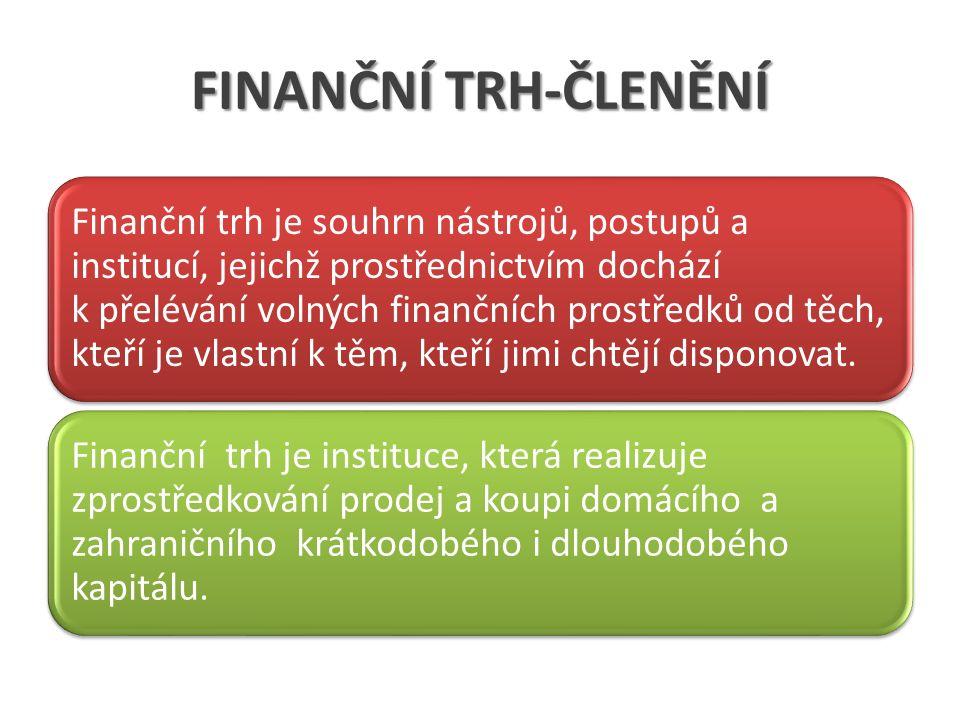 FINANČNÍ TRH-ČLENĚNÍ Finanční trh je souhrn nástrojů, postupů a institucí, jejichž prostřednictvím dochází k přelévání volných finančních prostředků od těch, kteří je vlastní k těm, kteří jimi chtějí disponovat.