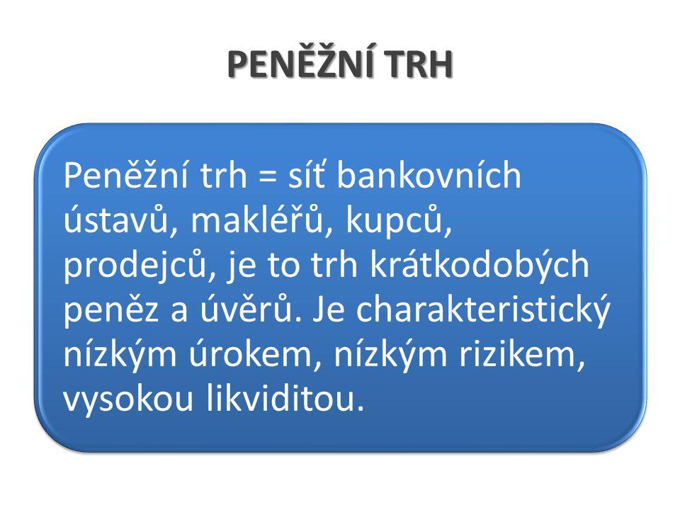 PENĚŽNÍ TRH Peněžní trh = síť bankovních ústavů, makléřů, kupců, prodejců, je to trh krátkodobých peněz a úvěrů. Je charakteristický nízkým úrokem, ní