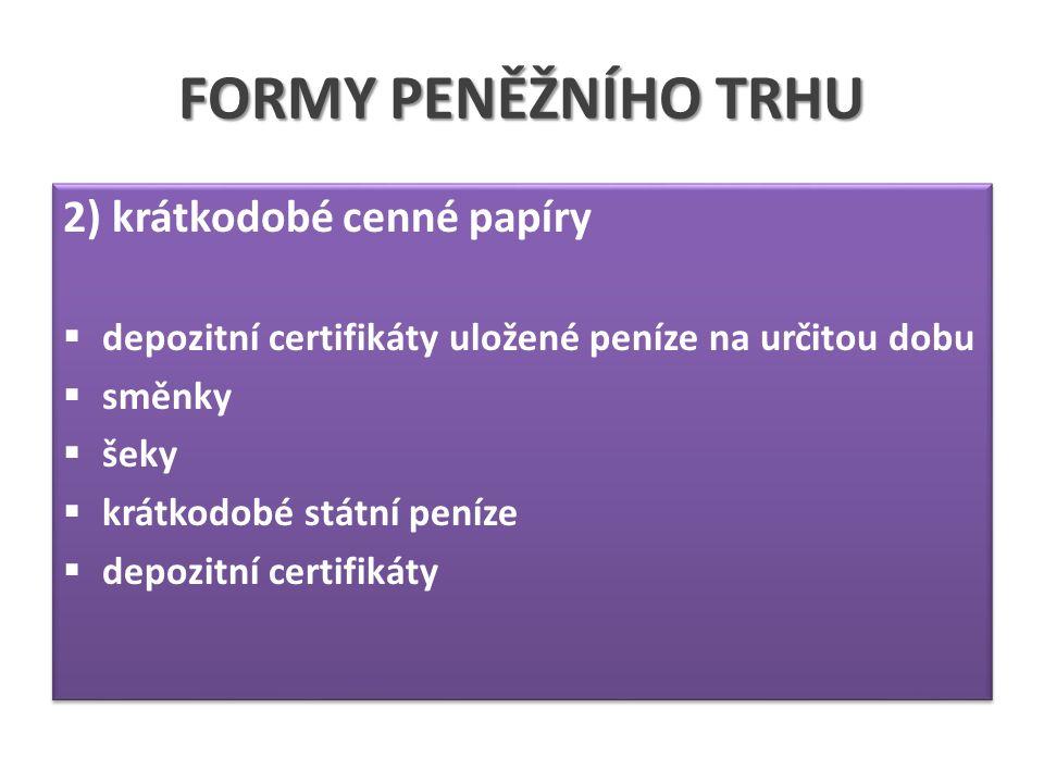 FORMY PENĚŽNÍHO TRHU 2) krátkodobé cenné papíry  depozitní certifikáty uložené peníze na určitou dobu  směnky  šeky  krátkodobé státní peníze  depozitní certifikáty 2) krátkodobé cenné papíry  depozitní certifikáty uložené peníze na určitou dobu  směnky  šeky  krátkodobé státní peníze  depozitní certifikáty