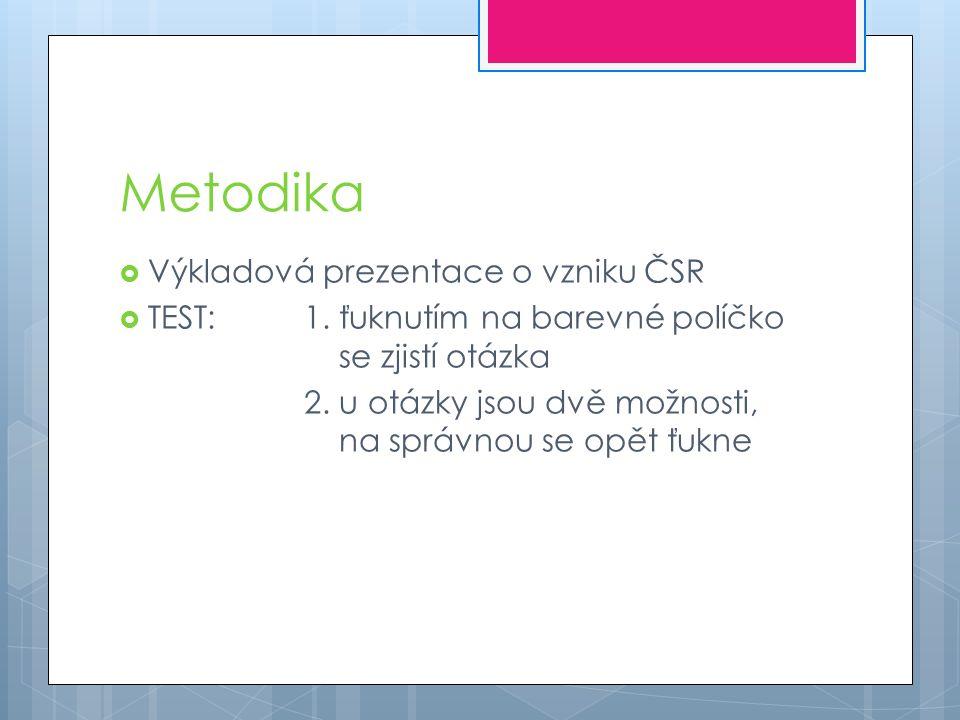 Metodika  Výkladová prezentace o vzniku ČSR  TEST: 1. ťuknutím na barevné políčko se zjistí otázka 2. u otázky jsou dvě možnosti, na správnou se opě